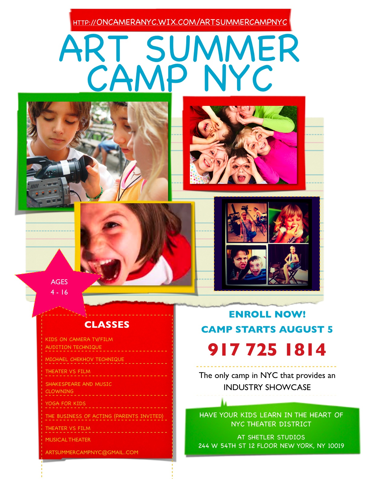 art summer camp flyer website